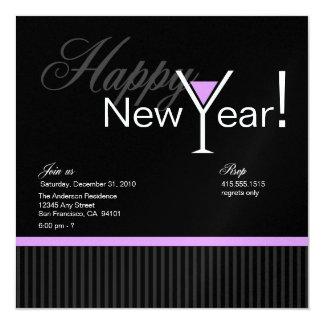 Martini Stripe New Year's Eve Invitation (purple)