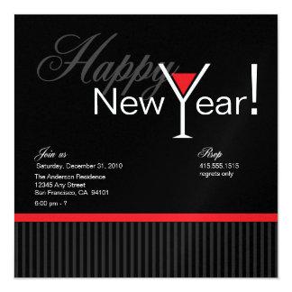 Martini Stripe New Year's Eve Invitation (red)