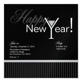 Martini Stripe New Year's Eve Invitation (silver)
