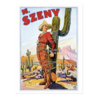Martini Szeny ~ Vintage Cowboy Wonder Magic Act Postcard