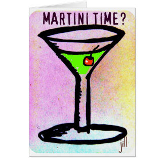 MARTINI TIME APPLETINI PASTEL PRINT by jill Card