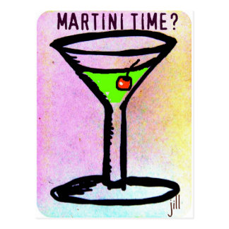 MARTINI TIME APPLETINI PASTEL PRINT by jill Postcard
