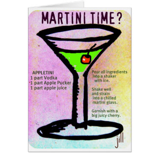 MARTINI TIME APPLETINI PASTEL PRINT with RECIPE by Card