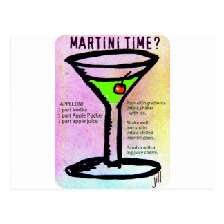 MARTINI TIME APPLETINI PASTEL PRINT with RECIPE by Postcard