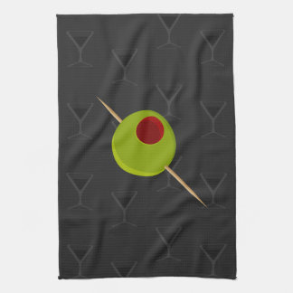 Martini Time Black Kitchen Towel
