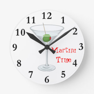 Martini Time Cocktail Glass with Olive Happy Hour Round Clock