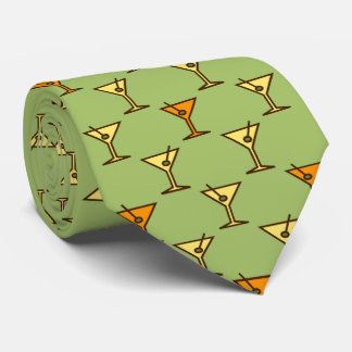 Martini Time Fifties Cocktail Moss Green Two-sided Tie