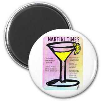 MARTINI TIME LEMON DROP PASTEL PRINT with RECIPE b 2 Inch Round Magnet