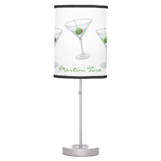 Martini Time Party Cocktail Glass and Olive Custom Desk Lamp