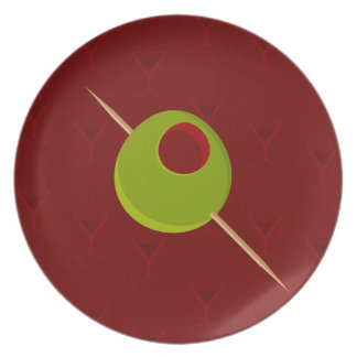 Martini Time Red Plate