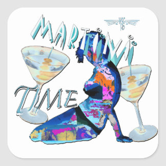 martini Time Square Sticker
