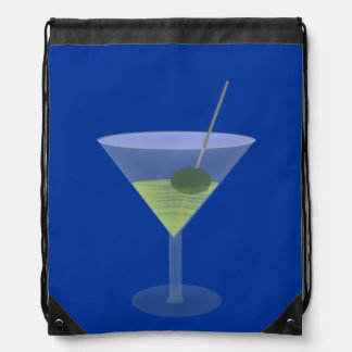 Martini With Olive Drawstring Bags