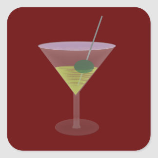 Martini With Olive Square Sticker