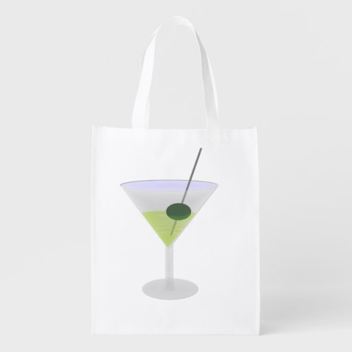 Martini With Olive Reusable Grocery Bags
