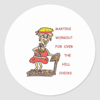MARTINI WORKOUT MOUSE PAD CLASSIC ROUND STICKER