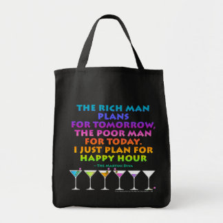 MARTINI ZEN - Plan for Happy Hour Grocery Tote  Ba