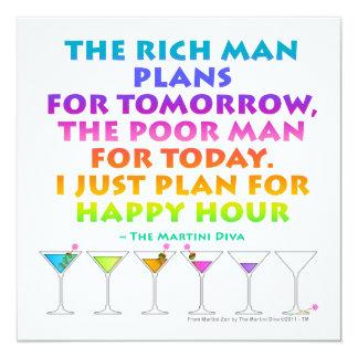 """MARTINI ZEN - Plan for Happy Hour Invitation 5.25"""" Square Invitation Card"""