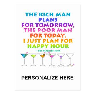 MARTINI ZEN - Plan for Happy Hour  Postcard