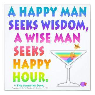 """MARTINI ZEN: Wise Man Seeks Happy Hour Invitations 5.25"""" Square Invitation Card"""