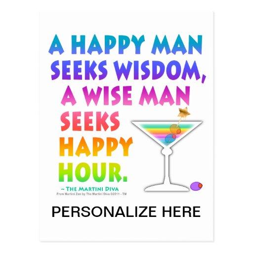 MARTINI ZEN: Wise Man Seeks Happy Hour  Postcard