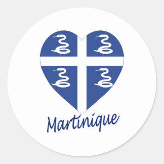 Martinique Flag Heart Classic Round Sticker