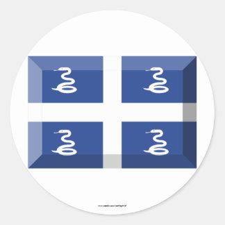 Martinique Flag Jewel Classic Round Sticker