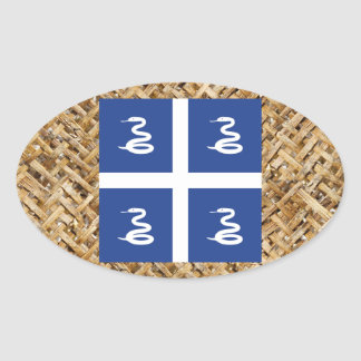 Martinique Flag on Textile themed Oval Sticker