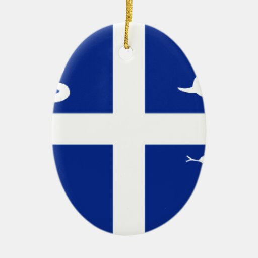 Martinique Flag Double-Sided Oval Ceramic Christmas Ornament