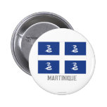 Martinique flag with name pinback button