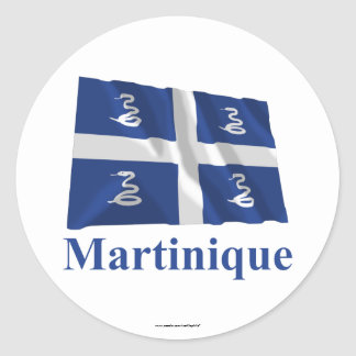 Martinique Waving Flag with Name Classic Round Sticker