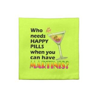 Martinis contra la servilleta feliz de MoJo del am
