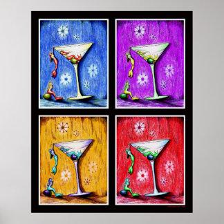 Martinis de la sirena del arte pop póster