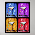Martinis de la sirena del arte pop posters