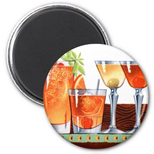 Martinis retros de las bebidas de los cócteles del iman de frigorífico