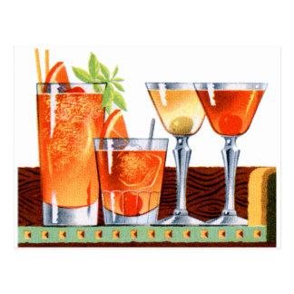 Martinis retros de las bebidas de los cócteles del tarjetas postales