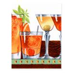 Martinis retros de las bebidas de los cócteles del postal