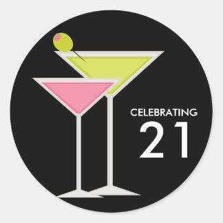 Martinis verdes y rosados pegatina redonda