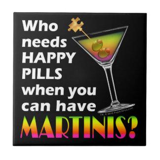 Martinis vs. Happy Pills Coaster Tile