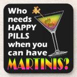 Martinis vs. Happy Pills Cork Coaster