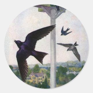 Martins púrpura y su Birdhouse Pegatina Redonda