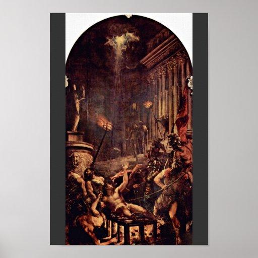 Martirio de St. Laurenzius por Tizian Póster