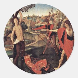 Martirio de St. Sebastian de Memling Hans Pegatina Redonda