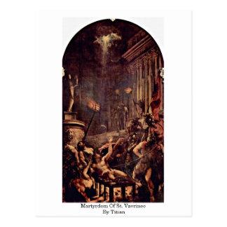 Martirio de St. Vavrinec por Titian Postal