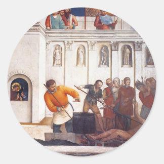 Martirio del Fra Angelico- de St Lorenzo Etiqueta Redonda