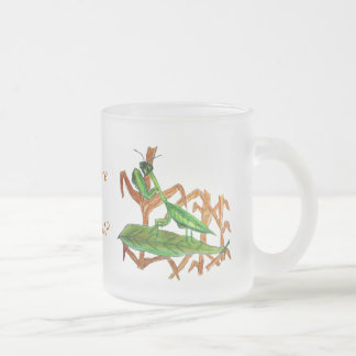 Marty the Praying Mantis Frosted Glass Coffee Mug