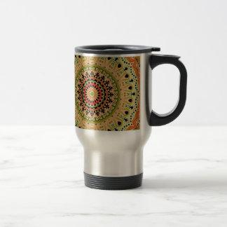 Marty Vintage Orange and Tan Kaleidoscope Travel Mug
