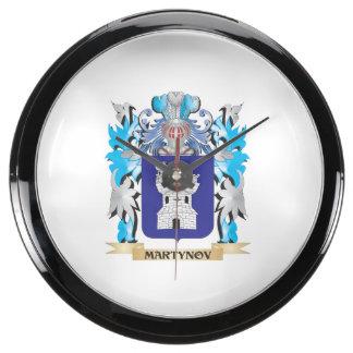 Martynov Coat of Arms - Family Crest Aqua Clock