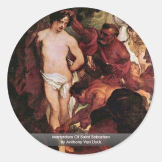 Martyrdom Of Saint Sebastian By Anthony Van Dyck Round Stickers