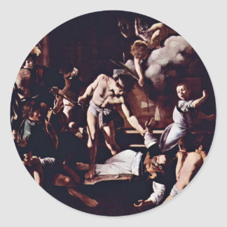 Martyrdom Of St. Matthew By Michelangelo Merisi Da Round Stickers