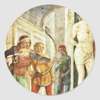 Martyrdom Of St Sebastian By Foppa Vincenzo Round Stickers